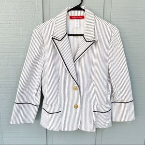 • Anne Klein Pinstripe Nautical Career Blazer K22